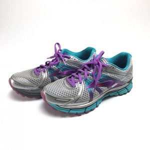 Brooks silver and purple GTS 17 running shoes 10
